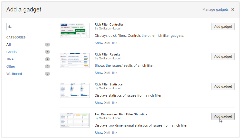 Add Two-Dimensional Rich Filter Statistics gadgets to your